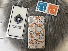 Cute Protective Kid Case for iPhone Xs X White with Glass Screen Protector