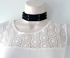 *TOP TREND* 3cm wide black faux suede laced design fabric COLLAR CHOKER necklace