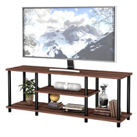 """3-Tier TV Stand Entertainment Media Center Console Shelf  for TV's 50"""" Brown"""