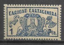 C40-SELLO FALANGE ESPAÑOLA CARIDAD MURCIA CARTAGENA 1 PESETA,SELLO GUERRA CIVIL,