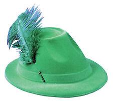 Alpine Green Flocked Plastic Hat With Feather One Size Rasta Imposta