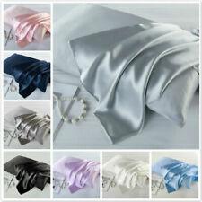 Satin Silk Pillowcase Zipper Pillow Case Cover Queen Standard Cushion Cover US