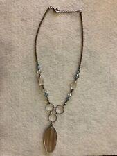 Gold Thread Quartz Pendent Beaded Necklace