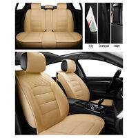 Beige 5Seat Car Seat Covers Luxury Leather All Seasons Car Cushion Mat Protector