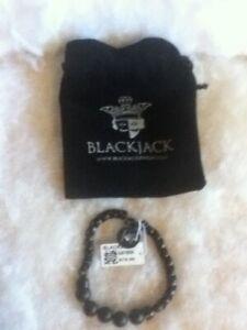 BLACKJACK Men's Stainless Steel Beaded Bracelet BJB193ON