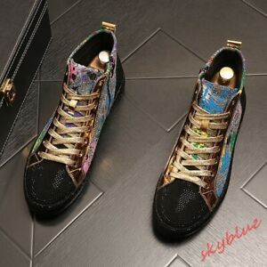 Mens Lace Up Sequins Casual Board Shoes High Top Sneaker Skateboard shoes size