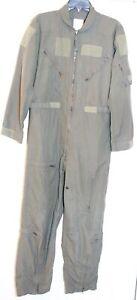 Vintage Coveralls Flyers CWU 27/P Sage Green USAF Pilot NOMEX Flight Suit Sz 40S