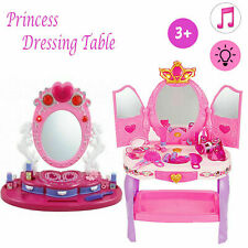 Girls Dressing Table Toy Make Up Desk With Stool Pink Play Set Kids Childrens