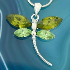 DRAGONFLY W Swarovski Crystal Lime Green Color Wings New Pendant Necklace Winx