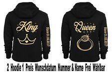 King Queen Hoodie Pullover 2 Stück Partner Look Pärchen Sweatshirt XS - 5XL New