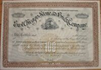 1880 Stock Certificate: 'East Chicago Stone & Brick Co.' - Illinois IL