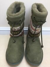 BNIB Ladies Love From Australia Festival Sheepskin Boots Olive Green - Size 4
