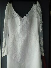 WOMENS MOONLIGHT WHITE V BACK AND FRONT EMBROIDERED BEADED COLUMN WEDDING.UK 8