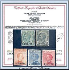 1921 Uffici Estero Levante Costantinopoli n. 28/32 Certificato Nuovi Integri **