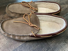 LL Bean Mens Hand sewn Leather Slippers Flannel-Lined Brown Sz: US 10