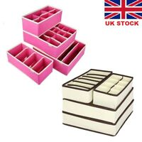 4Pcs Underwear Bra Socks Ties Drawer Closet Divider Organiser Box Storage UK NEW