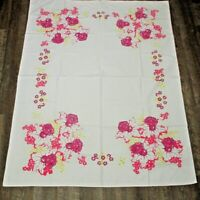 Vintage Tablecloth Red Yellow Floral Daffodils 50 x 63 1950s Cottage