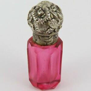 ANTIQUE VICTORIAN STERLING SILVER LID PINK FACETED GLASS PERFUME SCENT BOTTLE