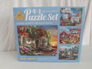 A SET OF 4 - 300 LARGE PIECE JIGSAW PUZZLES BY BITS AND PIECES