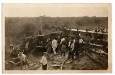 RPPC Postcard Train Wreck Scene Real Photo Unposted