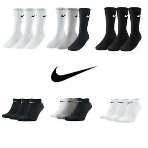 Nike Socks 3 Pairs Mens Womens Crew Ankle Liner Cotton Sports Socks Size UK 2-14