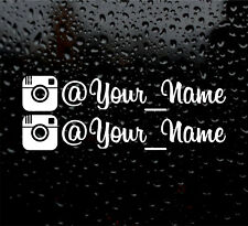 2 X INSTAGRAM YOUR NAME  CUSTOM PERSONALISED WINDOW VW VINYL DECAL STICKER font