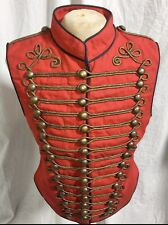 "Men Military red Atq Gold  Hussar Waistcoat & Atq Button Fit 38""40""42""44"""