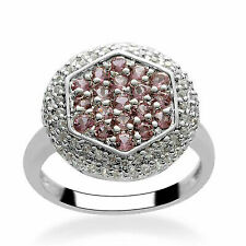 Halo Ring 925 Silver Pink Tourmaline Zircon Jewelry for Women Size 7 Cttw 1.1