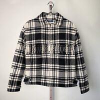 Polo Ralph Lauren Plaid Wool Fringe Jacket Coat Size Small Women Black $598