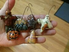 6  Halloween Spooky Ornaments Hand Painted Resin Salem Collection Decorations