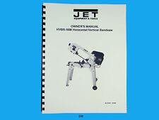 Jet HVBS-56M Horizontal   Band Saw  Operators & Parts List  Manual  *246