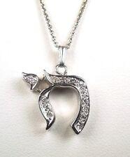 New Diamond .15 ct tw 14kt WG Italy CHAI Pendant *GAL APPRAISAL * Gift Box