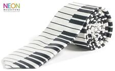 TECLADO DE PIANO Estampado Corbata Fina 140 x 5cm Satin Look & FEEL Negro Blanco