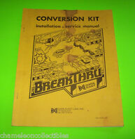 BREAKTHRU By DATA EAST ORIGINAL VIDEO ARCADE GAME SERVICE REPAIR MANUAL