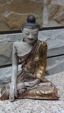 RARE ANTIQUE CHINESE SITTING BUDDHA WOOD CARVED TEMPLE  STATUE