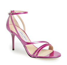 Jimmy Choo Vessel Pink Metallic Patent Leather Strappy Sandal Pump Shoe 36.5-6.5