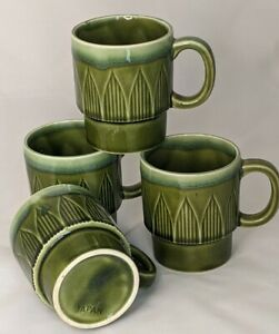 Set of 4 Vintage Green Coffee Cups Pottery Cups Japan Stacking Coffee Mugs