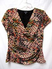 GEORGE top shirt blouse Large 12/14 Bust 42 V-NECK black/tan/coral/white Multi