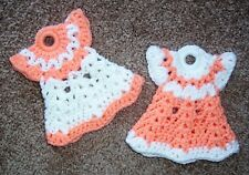 PAIR OF MINI DRESS POTHOLDERS, Crochet, PEACH AND WHITE, New, HANDMADE