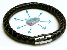 Magnetic Leather Energy Magnet Armband Power Bracelet Health Bio Cuff stainless