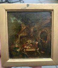 17th 18th Century Flemish Dutch School Tavern Pub Scene Oil On Board Painting