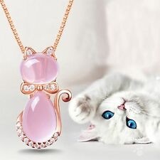 Pink Lotus Stone Rose Gold Plated New Opal Cat Shape Pendant Necklace