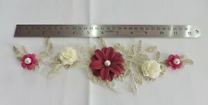 3D Floral Lace Embroidery Bridal Applique Beaded Pearl Tulle Wedding Vintage: B
