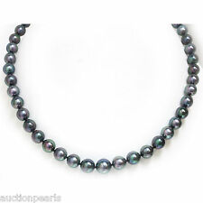 Graduated Akoya Pearl Necklace Black Green 14kt Gold 10 - 7 mm