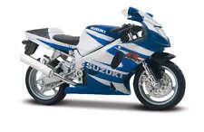 SUZUKI GSX-R750 BLU / Bianco, BBURAGO MOTO MODELLO 1:18, NUOVO, conf. orig.