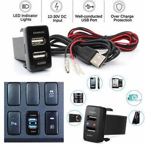 Car Dual USB Charger Audio Port for Toyota FJ Cruiser Highlander Tacoma 4Runner