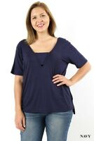Women's Plus Size V Neck T Shirt With Chest Band High Low 1X 2X 3X