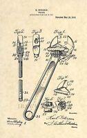 Official Crescent Wrench US Patent Art Print - Mechanic Antique Vintage 149