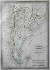 Original antique map CHILE, LA PLATA, ARGENTINA, PATAGONIA, Malte-Brun, 1846