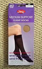 Silky Knee High Flight Travel Socks Medium Support 40 Denier One Size Nude